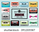 collection of retro colored... | Shutterstock .eps vector #391205587