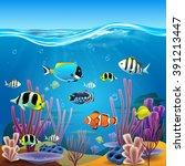underwater life | Shutterstock .eps vector #391213447