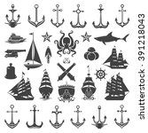 nautical vector design elements.... | Shutterstock .eps vector #391218043
