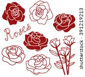rose hand drawn clip art... | Shutterstock .eps vector #391219213