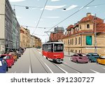 prague city hand drawn sketch.... | Shutterstock .eps vector #391230727