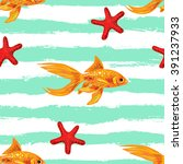 Seamless Sea Pattern With Gold...