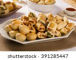 mixed brazilian snack on the... | Shutterstock . vector #391285447