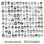 collection of cute and diverse... | Shutterstock .eps vector #391316863