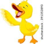 cute duck laugh cartoon... | Shutterstock .eps vector #391352893