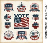 vintage usa election labels and ... | Shutterstock .eps vector #391374037