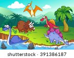 dinosaur in a wild  vector art... | Shutterstock .eps vector #391386187