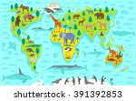 funny cartoon world map | Shutterstock .eps vector #391392853