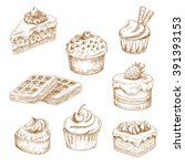 cupcakes and muffin  chocolate...   Shutterstock .eps vector #391393153