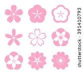 cherry blossom icon set. sakura ... | Shutterstock .eps vector #391410793