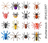 Flat Spiders Cartoon Scary...