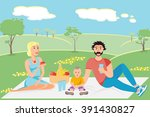 happy family enjoy picnic in... | Shutterstock .eps vector #391430827