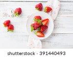Juicy Fresh Strawberries On An...