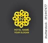 abstract flourish circle logo... | Shutterstock .eps vector #391447477