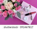 colorful makeup products on... | Shutterstock . vector #391467817