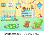 funny nursery with toys. vector ... | Shutterstock .eps vector #391476763