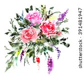 greeting card with roses.... | Shutterstock . vector #391481947