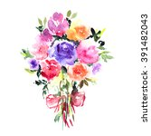 greeting card with roses.... | Shutterstock . vector #391482043