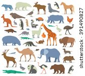 big collection animals | Shutterstock .eps vector #391490827
