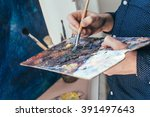 Artist Painting An Abstract Oi...