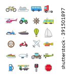 set of 24 colorful transport... | Shutterstock .eps vector #391501897