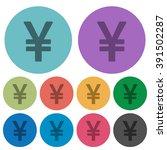 color yen sign flat icon set on ...