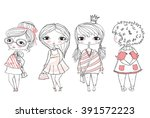 set of 4 cute stylish girls. | Shutterstock .eps vector #391572223