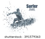 silhouettes of surfers particle ... | Shutterstock .eps vector #391579363