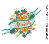 Spring Word  Flowers And Ribbo...