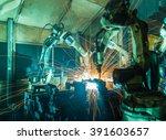 welding robots movement in a... | Shutterstock . vector #391603657