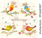 bird mail. postcrossing...   Shutterstock .eps vector #391660387