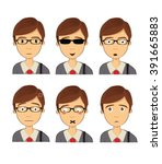 attractive brown haired man on... | Shutterstock .eps vector #391665883