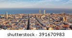 panoramic view of barcelona ... | Shutterstock . vector #391670983