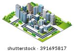modern town and nature. green... | Shutterstock .eps vector #391695817