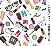 make up and beauty items... | Shutterstock . vector #391710967