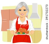 sweet grandmother in red apron...   Shutterstock .eps vector #391732273