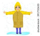 little girl wearing yellow...   Shutterstock .eps vector #391732633