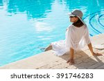 fashion beautiful woman on... | Shutterstock . vector #391746283