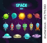 Space Cartoon Icons Set....