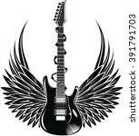 electric guitar with wings.... | Shutterstock .eps vector #391791703