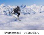 snowboarder making jump ... | Shutterstock . vector #391806877