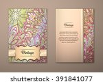 vintage cards with floral... | Shutterstock .eps vector #391841077