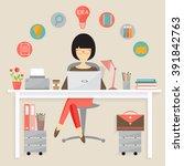 copywriter freelance career | Shutterstock .eps vector #391842763