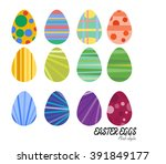 easter eggs vector flat icons.... | Shutterstock .eps vector #391849177