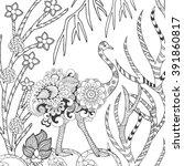 ostrich in fantasy flower... | Shutterstock .eps vector #391860817