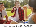 young people company sittting... | Shutterstock . vector #391865893