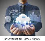 businessman with financial... | Shutterstock . vector #391878403