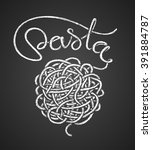 pasta word  and spaghetti snarl ... | Shutterstock .eps vector #391884787