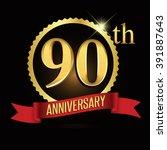 90th anniversary logo golden...   Shutterstock .eps vector #391887643