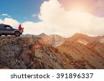 happy traveler man sitting on... | Shutterstock . vector #391896337